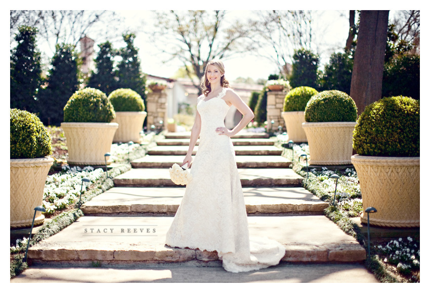 bridal portrait photo session of Allison Gerard Swank in a Monique Lhullier wedding gown dress at the Dallas Arboretum and Botanical Garden by Dallas wedding photographer Stacy Reeves