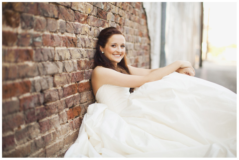 Bridal photo portrait session of Hannah Petkovsik in historic downtown McKinney Texas by Dallas wedding photographer Stacy Reeves