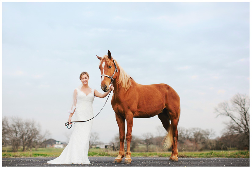 bridal portrait photo session of Jessica Atkins at Walking Tall Horse Ranch in Pilot Point, Texas by Dallas wedding and portrait photographer Stacy Reeves