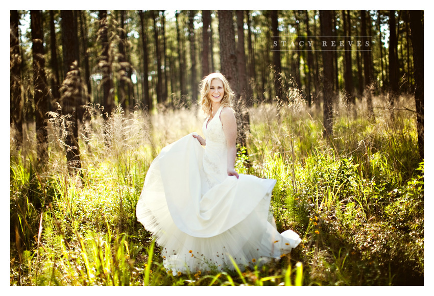 rustic country forest garden bridal session of Leah Partridge Bayliss in The Woodlands by Plano wedding photographer Stacy Reeves