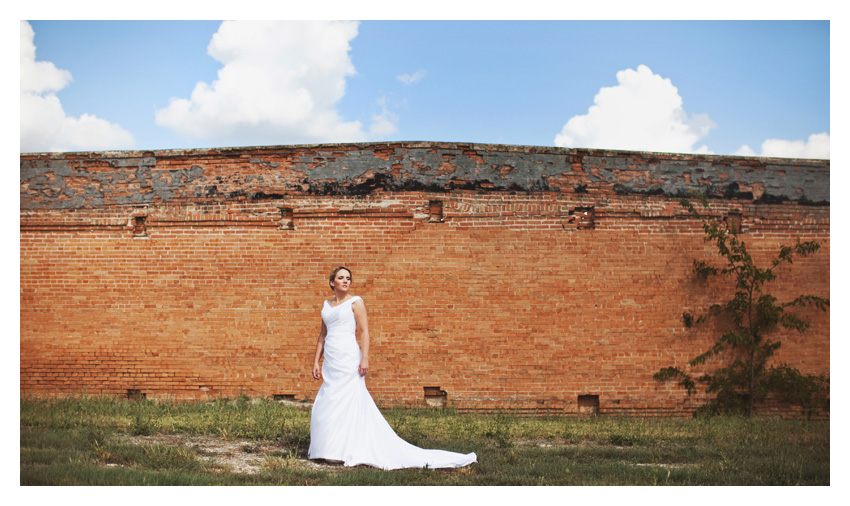bridal portrait wedding gown photo session of Marcy Novak Gilbert at the Old McKinney Cotton Mill by Dallas wedding photographer Stacy Reeves