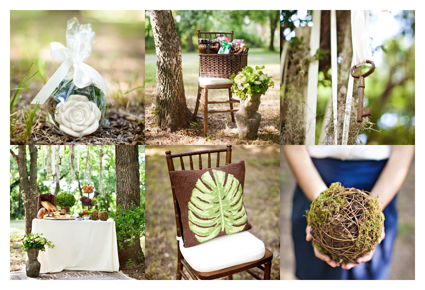 vintage garden themed brown and green bridal shower event design featuring dark wood mahogany chiviari chairs