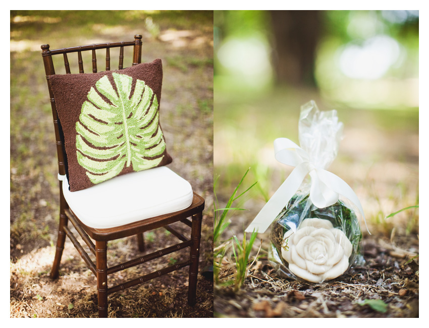 Vintage garden themed brown and green bridal shower event design featuring dark wood mahogany chiviari chairs, wooden table, moss, antique keys, roses, and wooden plates