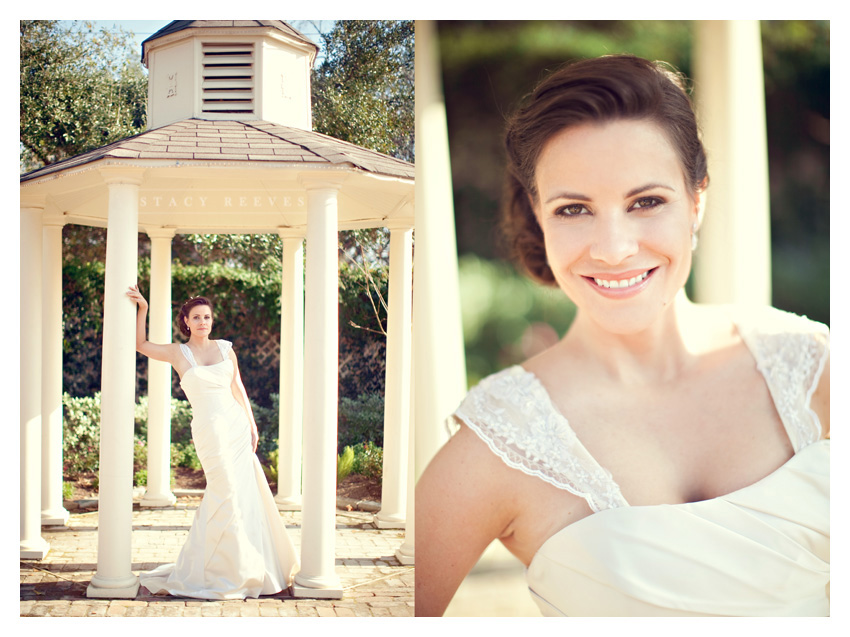 bridal portrait photo session of Sommer Raines at Butler's Courtyard in League City Texas near Houston by Dallas wedding photographer Stacy Reeves