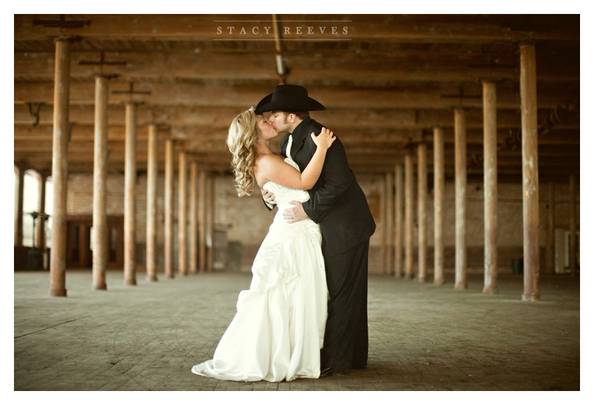 rustic country Day After bride and groom portrait session of Jenny Burdett Fain and Casey Fain at the Old McKinney Cotton Mill abandoned warehouse by Dallas wedding photographer Stacy Reeves
