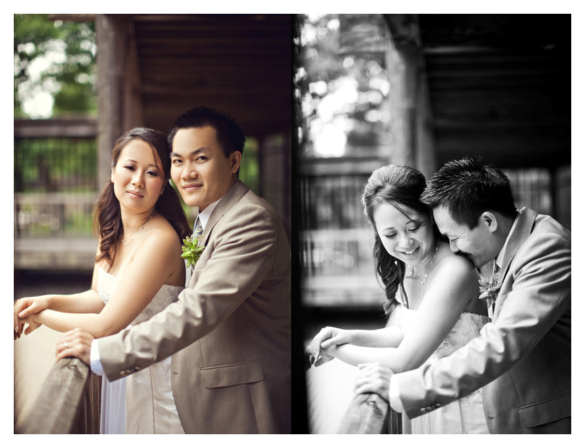 Day After bride and groom portrait session of Paige Kha and Uy Tran at the Fort Worth Japanese Gardens by Dallas wedding photographer Stacy Reeves