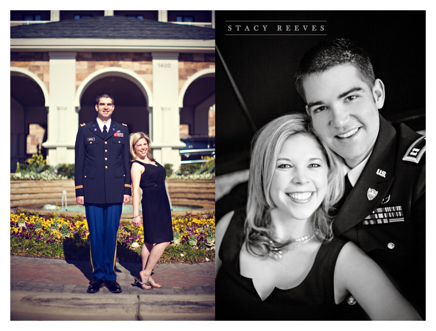 engagement session of Ashleigh Henderson and David Bowers at Southlake Town Square by Plano wedding photographer Stacy Reeves
