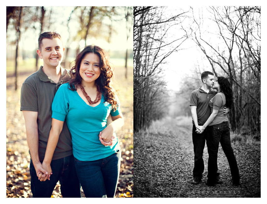 engagement session photos of Alma Martinez and Kelly Morphis at River Legacy Park nature preserve in Arlington Texas by Dallas Wedding Photographer Stacy Reeves