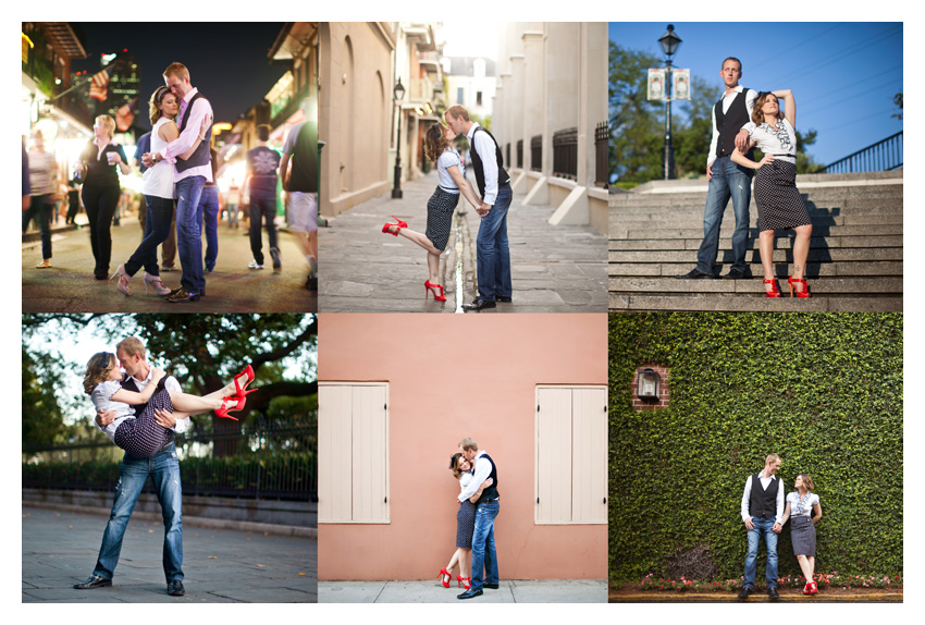Engagement portrait photo session of CheyAnne Bradfield and Doug Keese in French Quarter, Jackson Square, and Bourbon Street in downtown New Orleans by Dallas wedding photographer Stacy Reeves