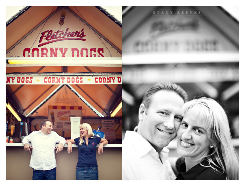 engagement photo session of Candy Reeves and Tom Flood at the Texas State Fair by Dallas wedding photographer Stacy Reeves