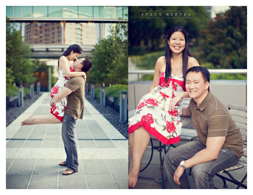 engagement photography session of Christina Yeh and John at the Marie Gabrielle in downtown Dallas by Dallas wedding photographer Stacy Reeves