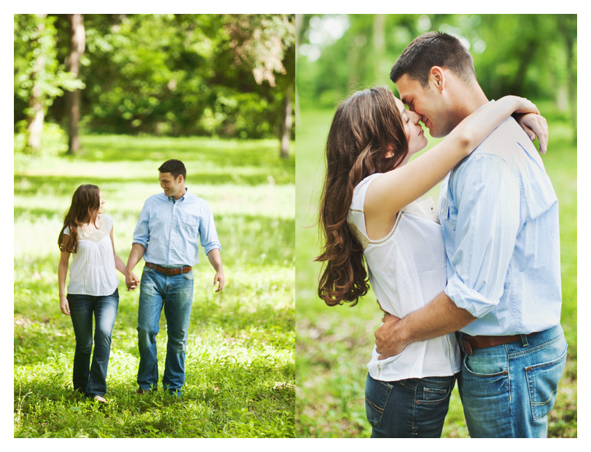 woodsy forest engagement photo session of Erin Mazur and Tyler Hufstettler by Dallas wedding photography Stacy Reeves