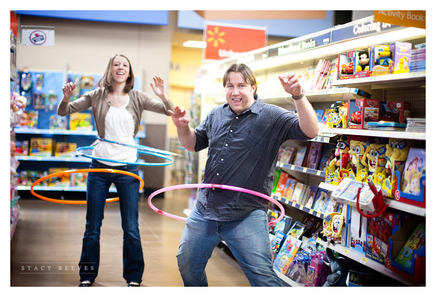 engagement session of Lisa Kirk and Grant Speer in Wal-Mart by Southlake wedding photographer Stacy Reeves