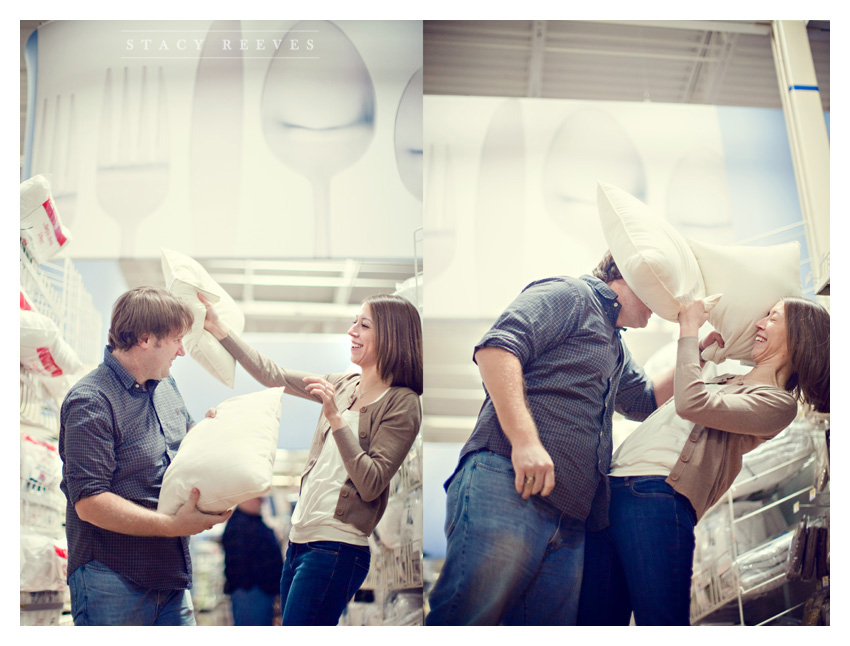 engagement session of Lisa Kirk and Grant Speer in Wal-Mart by Coppell wedding photographer Stacy Reeves