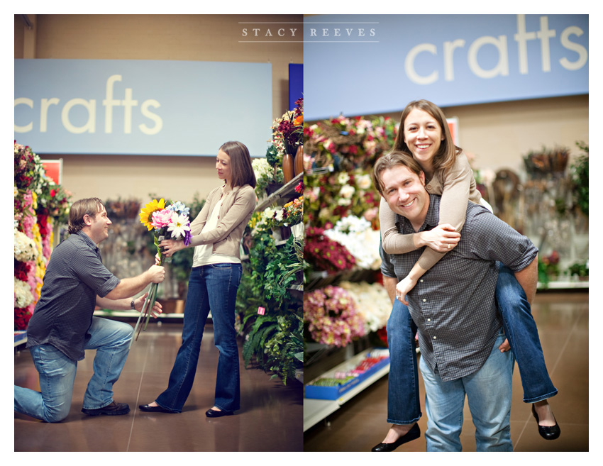 engagement session of Lisa Kirk and Grant Speer in Wal-Mart by University Park wedding photographer Stacy Reeves