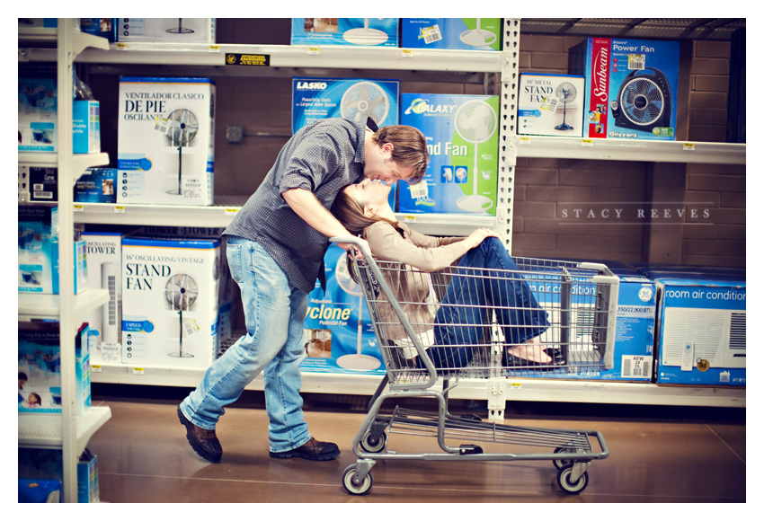 engagement session of Lisa Kirk and Grant Speer in Wal-Mart by Addison wedding photographer Stacy Reeves