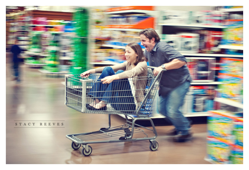 engagement session of Lisa Kirk and Grant Speer in Wal-Mart by Dallas wedding photographer Stacy Reeves