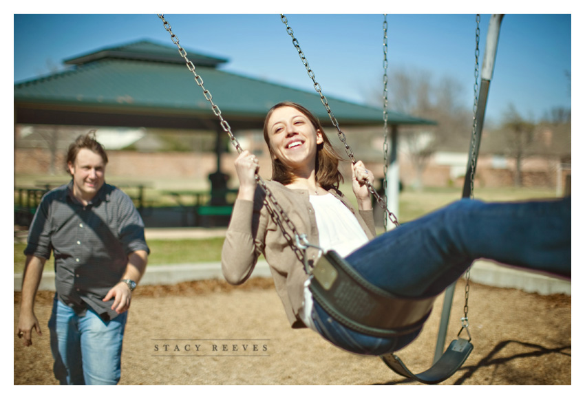 engagement session of Lisa Kirk and Grant Speer in Wal-Mart by Frisco wedding photographer Stacy Reeves