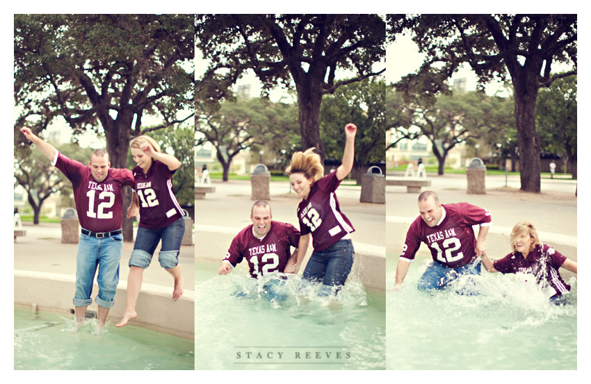engagement photo session of Marcy Novak and Kyle Gilbert in Aggieland College Station on the Texas A&M University campus by Dallas Aggie wedding photographer Stacy Reeves