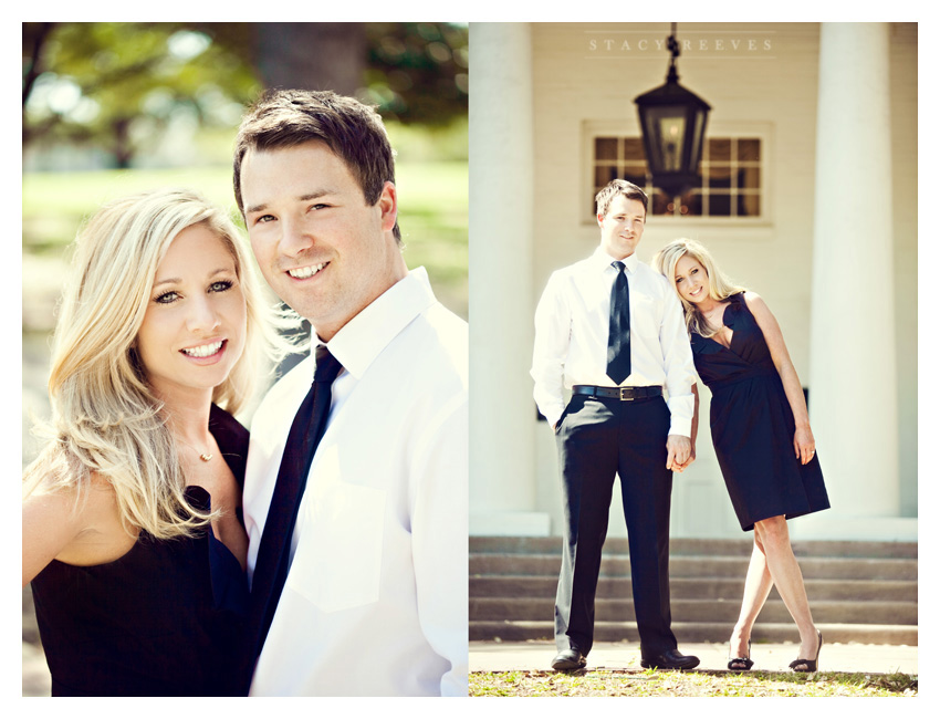 Engagement photo session of Pamela Pammie Tucker and Kyle at Arlington Hall and Lee Park in the Turtle Creek area of downtown Dallas by wedding photographer Stacy Reeves