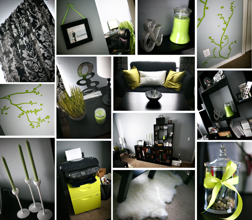 lime green black and white damask office home decor DIY Ikea