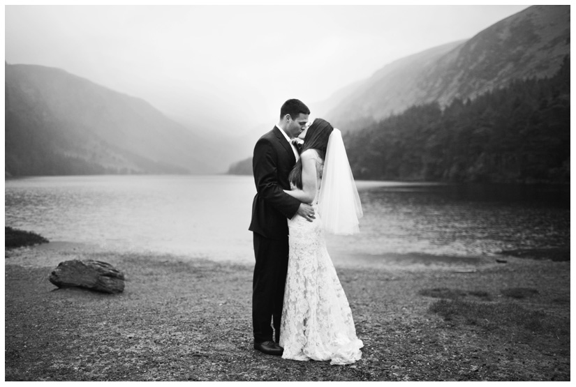 portraits of bride and groom in the rain after wedding day ceremony in the Irish mountains by Stacy Reeves