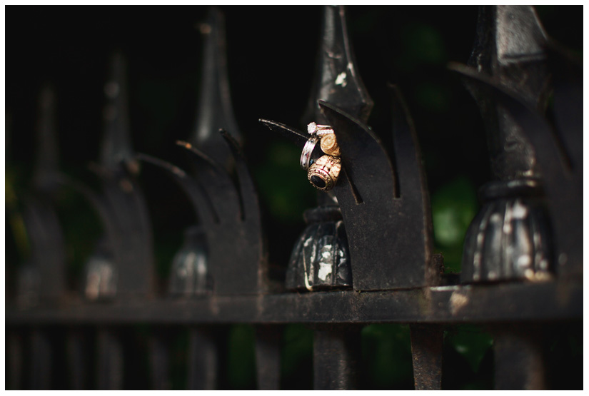 wedding band and engagement ring detail shot photo with Aggie Ring and US Naval Academy ring on wrought iron garden gate
