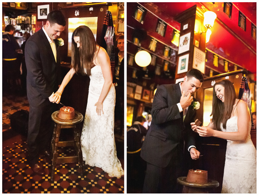 Erin Mazur and Tyler Hufstetler cut their wedding cake at Temple Bar in Dublin Ireland during their wedding reception